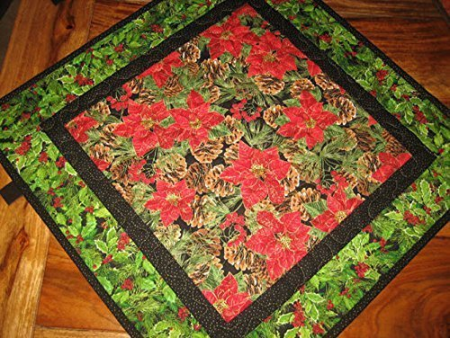 christmas-holiday-poinsettia-table-topper-holly-berries-and-pine-cones-21-x-21-reversible-quilted-10