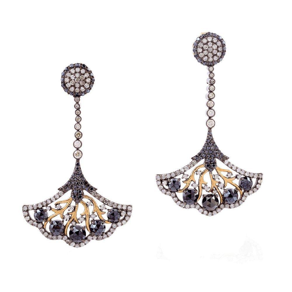 Black Spinel Gemstone Diamond 14kt Gold Designer Dangle Earrings Sterling Silver Jewelry