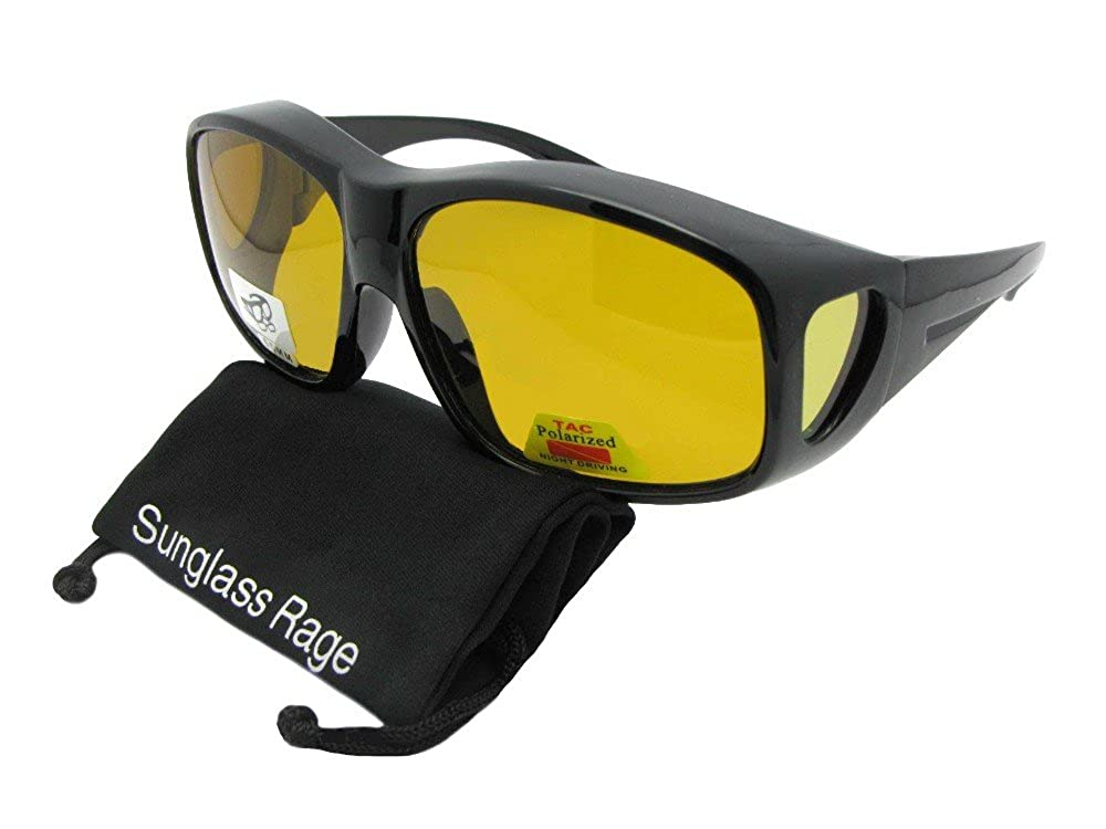 3e1d91cab8 Amazon.com  Largest Polarized Fit Over Sunglasses Worn Over Prescription  Glasses Style F19 (Black-Dark Yellow Lens