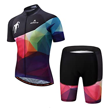 Amazon.com  MILOTO Men s Cycling Jersey Set Reflective Short Sleeve ... abfdc1853