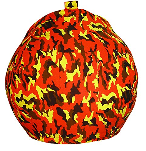 Stuffed Animal Bean Bag Covers Only Orange Camouflage 30 Inch Premium Quality 100% Cotton Canvas Storage Bean Bags for Stuffed Toys Animals Replace Mesh Toy Hammock Storage Bags Strong Zipper