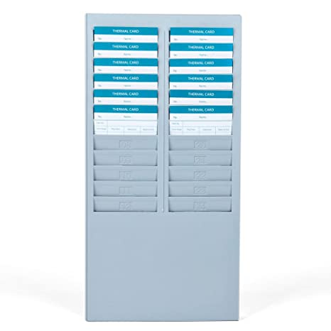 time card rack 24 pocket slots wall mounted durable holder compatible with attendance time payroll recorder - Card Rack