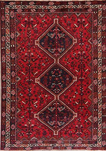 Shiraz Persian Vintage Geometric Oriental Area Rug Wool Hand-Knotted Tribal Nomad Carpet 7 X - Persian Rugs Shiraz