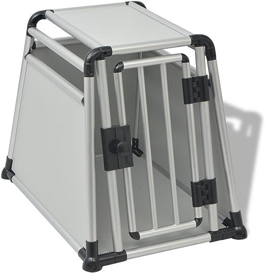 vidaXL 170352 Caja de Transporte para Perros, Aluminio, M, Caja de Transporte para Perros, Caja de Transporte para Coche, Caja de Viaje, Plateada/Negro: Amazon.es: Productos para mascotas