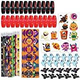 274PCS Halloween Toys Party Favor Bulk, 10 Pencils, 24 Erasers, 24 Bracelets, 144 Stickers, 72 Temporary Tattoos