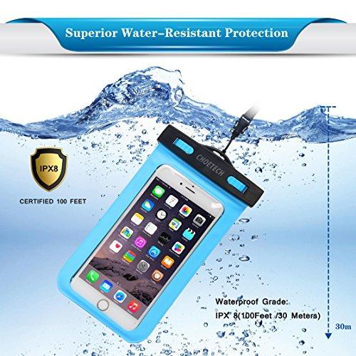 [Funda Impermeable Universal] CHOETECH Fundas Movil para Agua PVC+ABS Funda Sumergible Movil Sensible al Tacto de la caja Compatible para iPhone 6s, 6s Plus, S6 y todos los dispositivos de hasta 6 pul C007-Azul