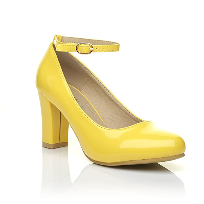 1cd7e7446e30 Zara Yellow Patent Block Heel Ankle Strap Round Toe Court Shoes  Amazon.co. uk  Shoes   Bags