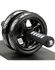 H&S Ab Abdominal Exercise Roller With Extra Thick Knee Pad Mat - Body Fitness Strength Training Machine AB Wheel Gym Tool