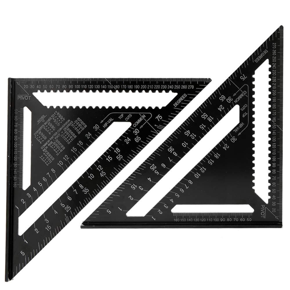 Festnight Righelli a triangolo in lega di alluminio 90 gradi 45 gradi Set Square 12in Black Metrico Square Ruler