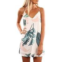 SIDEFEEL Women's V Neck Halter Printed Casual Strap Dress