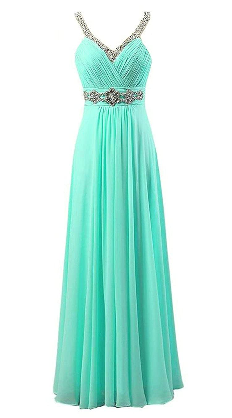 Vantexi Women's Beaded Straps Chiffon Long Bridesmaid Prom Dress WXL6642
