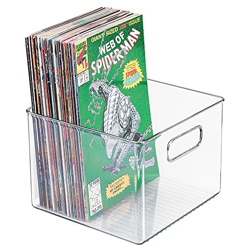 mDesign Home Storage Organizer Bin for Comic Books, Magazines - Clear