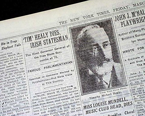 "FRED ""Butcher"" BURKE Captured & Tim Healy Irish Free State DEATH 1931 Newspaper THE NEW YORK TIMES, March 27, 1931"