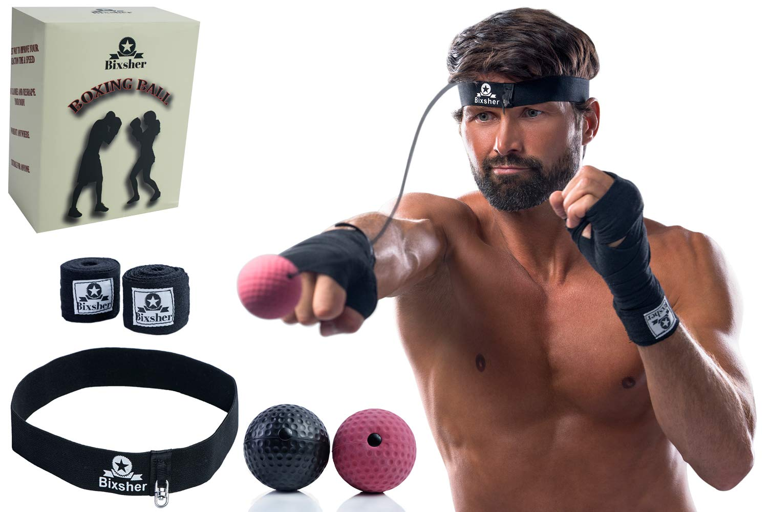 Bixsher  Boxing Ball on String, Boxing Trainer Headband, Boxing Reflex Ball & Exercise Equipment Kit to Improve Hand Eye Coordination, Headbands for Women Men and Kids with Travel Bag