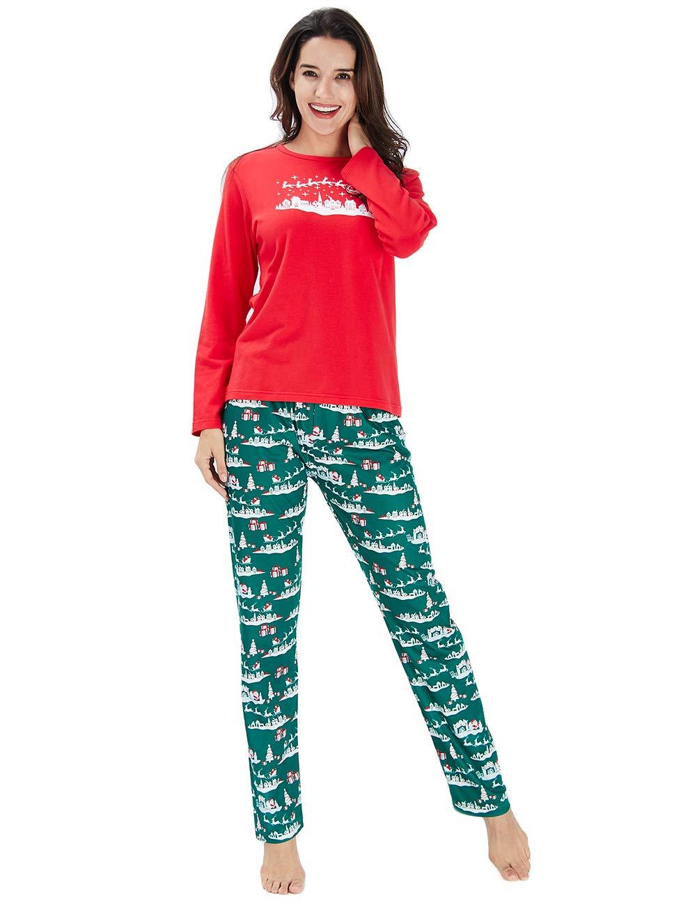 Chicolife Familia árbol de Navidad Set Manga Larga Pijamas Ropa de Noche Pantalones Superior Establece para mamá