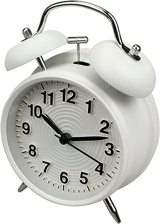 stile r/étro alimentata a batteria Sveglia da 10 cm a doppia campana senza ticchettio con luce notturna per stanze da letto (Bianca)