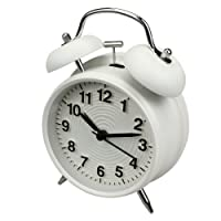"Homchen 4"" Twin Bell Alarm Clock Non Ticking, Battery Operated Old Fashioned Loud Alarm Clock Nightlight Bedrooms"