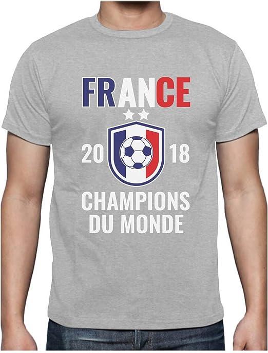 France Les Bleus Champions du Monde Football 2018 T Shirt Homme