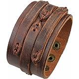 Unisex Adjustable Handmade Genuine Leather Wide Brown Belt Bracelet Bangle Cuff by Jenia
