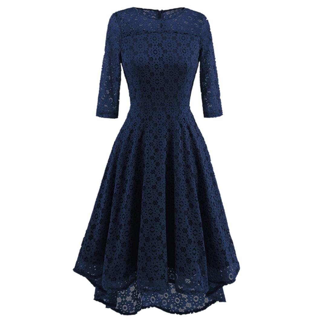 Womens Vintage Floral Lace Swing Dress Casual O Neck Half Sleeves Irregular Wedding Cocktail Party Dress (XXL, Navy)