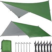 OTraki Camping Tarp 3 m x 3 m Hangmat Regen Fly Tent Tarp Waterdicht Winddicht Sneeuwdicht Camping Dekzeil Shelter Tent…