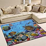 YZGO Colorful Coral Reef Fishes under Sea Rug, Kids Children Area Rugs Non-Slip Floor Mat Resting Area Doormats