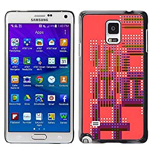 Plastic Shell Protective Case Cover    Samsung Galaxy Note 4 SM-N910    Pink Purple Retro Pattern Spots White @XPTECH