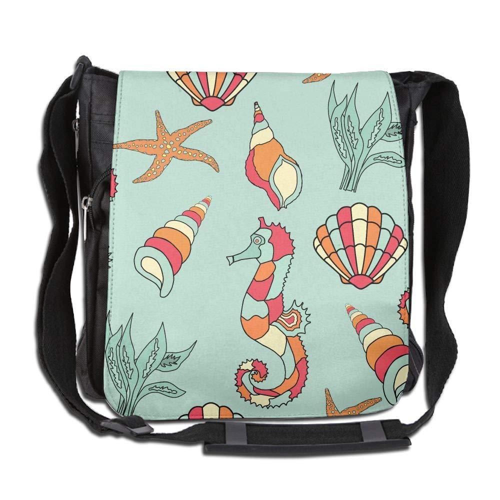 SARA NELL Messenger Bag,Marine Organism,Unisex Shoulder Backpack Cross-body Sling Bag