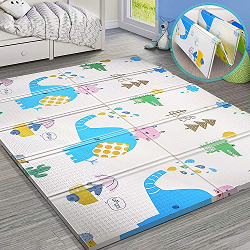 Buy Bargain Gimars XL BPA Free 0.6 in Reversible Foldable Baby Play Mat, Waterproof Thick Foam Floor...