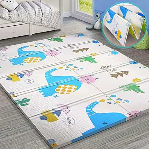 Gimars XL BPA Free 0.6 in Reversible Foldable Baby Play Mat, Waterproof Thick Foam Floor Baby Crawling Mat, Portable Baby Care Playmat for Infants, Toddler, Kids, Indoor Outdoor Use (79 x71x0.6inch)