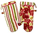 "Custom & Durable {14"" x 6.5"" Inch Each} 4 Set Pack of Mid Size ""Non-Slip"" Pot Holders Gloves Made of Cotton for Carrying Hot Dishes w/ Quilted Classic Stripe Floral Style {Green, Red, & Pink}"