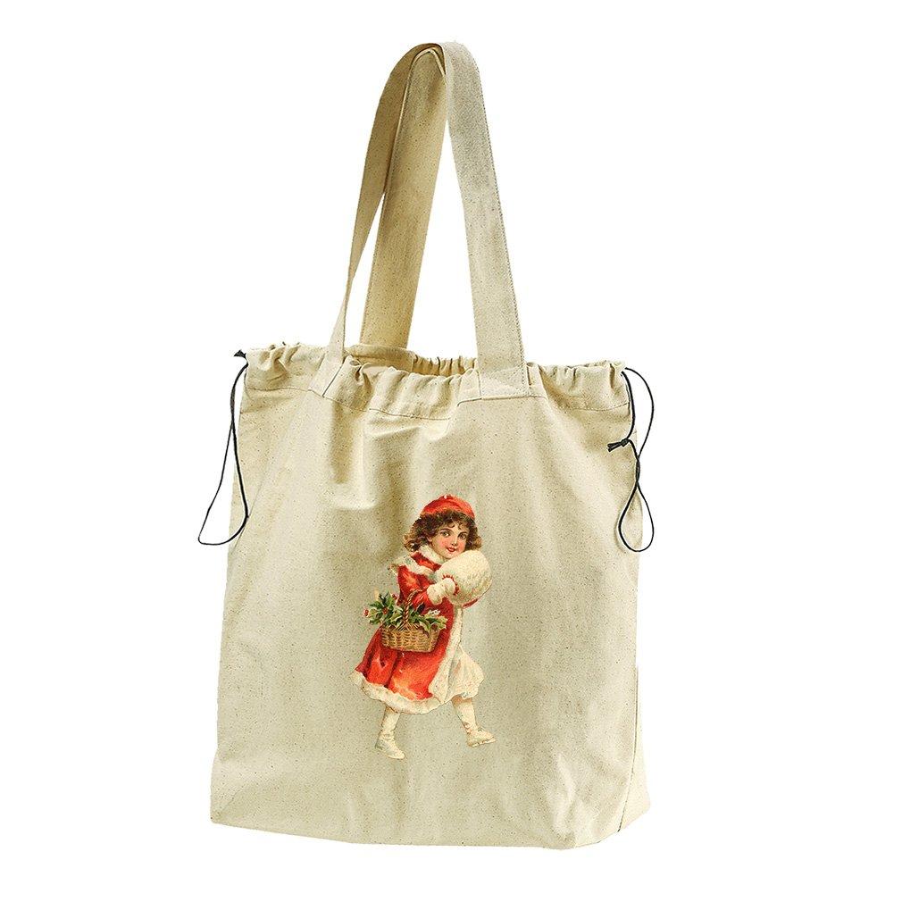 Girl In Red Coat Vintage Look #1 Canvas Drawstring Beach Tote Bag