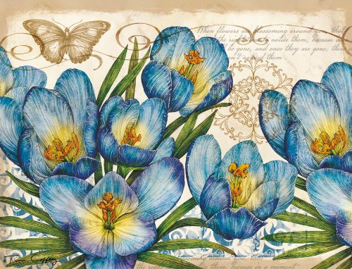Lang Blue Floral Deluxe Note Card Set by Tim Coffey, 5.25 x 4 inches, 12 Cards and Envelopes (2080502)