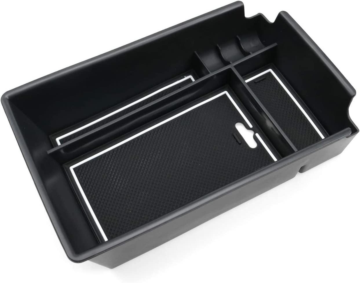 Black Sonata DN8 Accessories,Insert ABS Black Materials Tray Secondary Storage Box RUIYA Center Console Organizer Tray Compatible with 2020