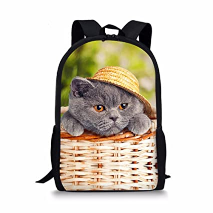 d4404c28cd99 Showudesigns Unique Cat Face Children School Backpack Elementary Kids  Bookbags