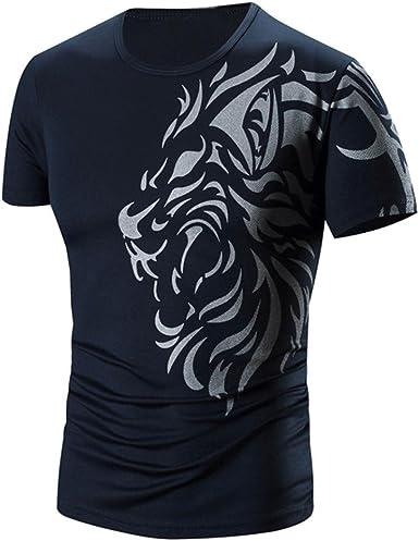 Camiseta para Hombre, Xinan Camisas de impresión de Moda de Verano Camiseta de Manga Corta Deportivas Casual Tops Blusa Pollover Tops tee Color ...