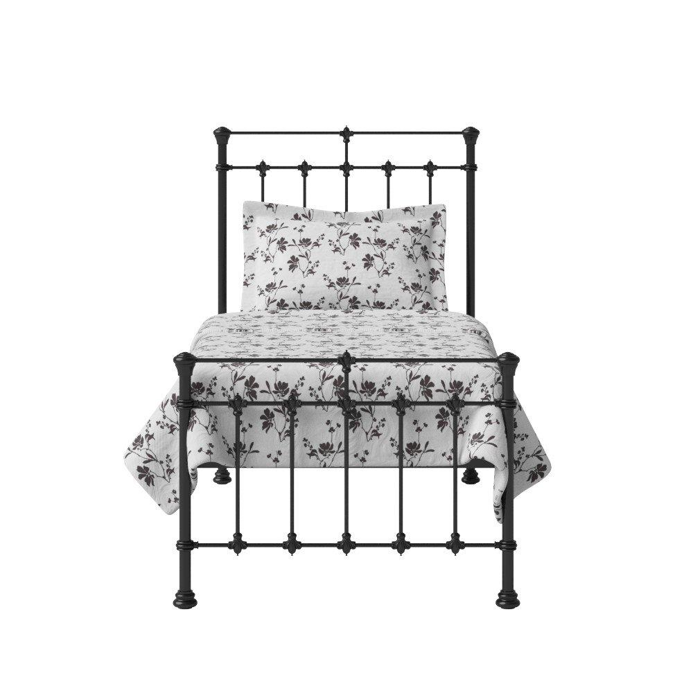 The Original Bed Co. Metallbett Edwardian Eisen Bettgestell mit Holz Lattenrost 90 x 190 cm Satin Schwarz