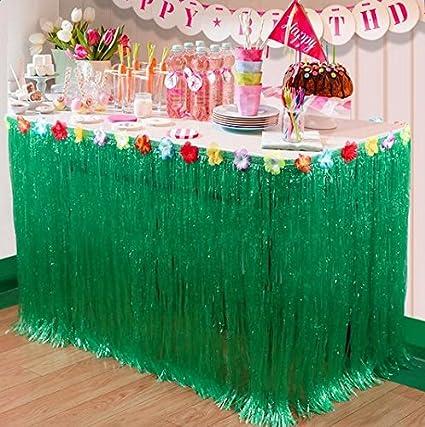piscina spiaggia Pawaca Hawaiian Luau Grass Table Skirt Luau Tiki compleanno e estate Green 1/pezzo 2,7/m Tropical Hawaiian party decorazione tabella gonna con fiori di ibisco per giardino