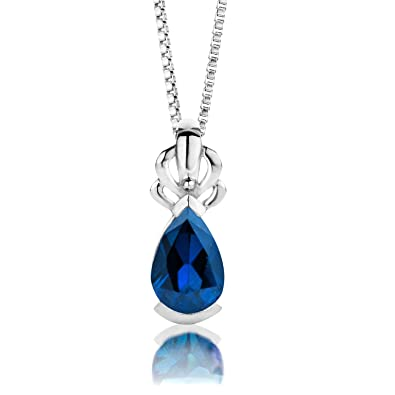 ByJoy Necklace for Women Sterling Silver pendant Blue Sapphire 45 cm chain 925 Silver c42A3mA