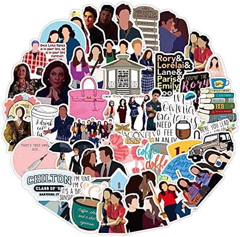 51Pc Movie Gilmore Girls Vinyl Stickers Decals, Waterproof Stickers for Laptop Water Bottle Bike Skateboard Luggage Computer Hydro Flask Toy Snowboard. Gifts for Kids Girls Teens