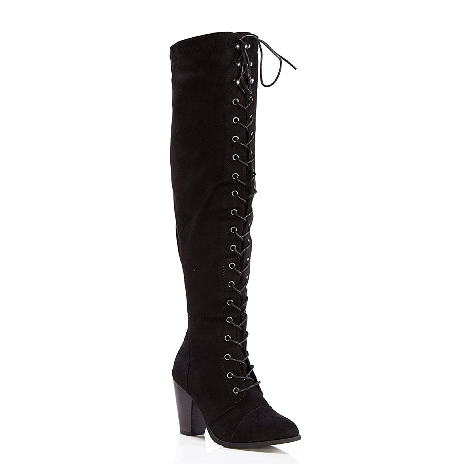 cb762992399 ShoBeautiful Womens Chunky Heel Over The Knee High Riding Boots Lace Up  Corset Thigh High Combat Boots Winter Shoes