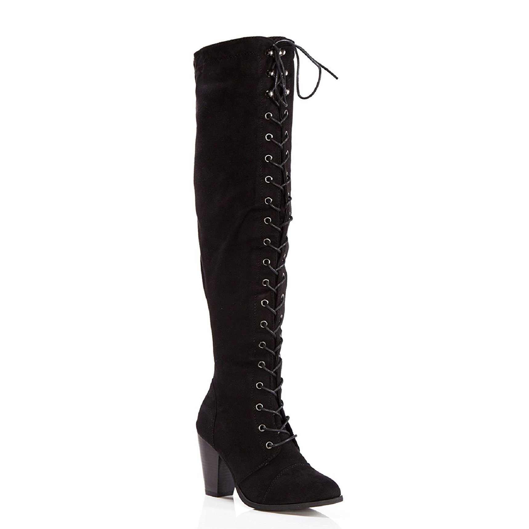 c37d16ad84bc ShoBeautiful Womens Chunky Heel Over The Knee High Riding Boots Lace Up  Corset Thigh High Combat Boots Winter Shoes Black 10