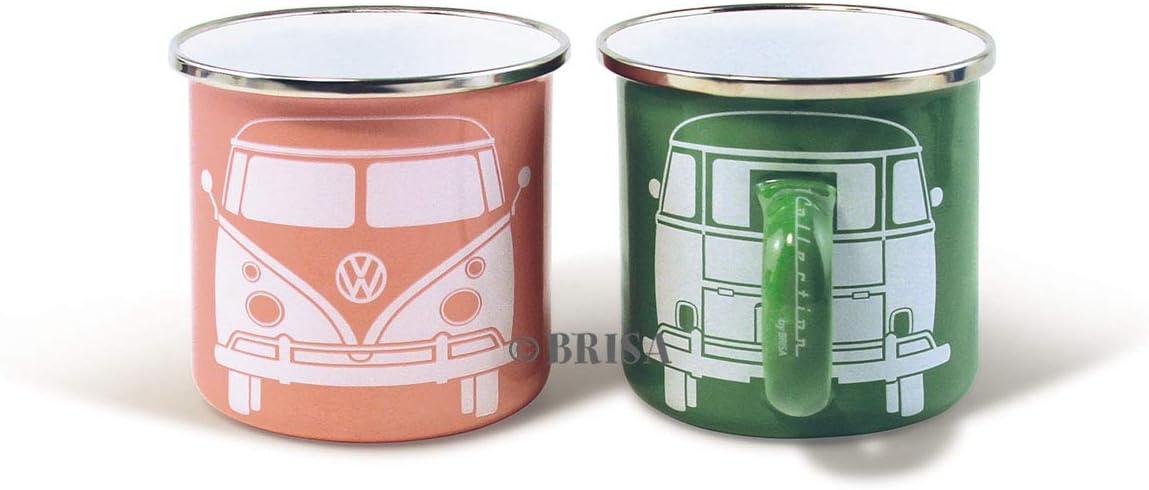 Brisa VW Collection - Volkswagen Furgoneta Hippie Bus T1 Van Set de 2 Tazas de Café Esmaltadas en Caja de Regalo, Copas de Té, Decoración de la Mesa/Outdoor/Camping/Souvenir (Verde/Rosa)