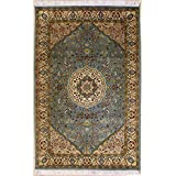Rugstc 4'7 x 7'3 Pak Persian Area Rug with Silk & Wool Pile - Floral Design | 100% Original Hand-Knotted in Greenish Blue,White,Beige Colors | a 4.5x7 Rectangular Double Knot Rug