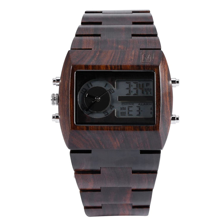 Mercimall BAB-DZR08 Analog-Digital-Doppel Anzeige Chronograph LED Schwarz Sandale Holz mit Hintergrundbeleuchtung