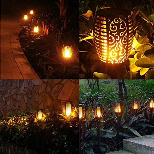 RONGT IP65 Waterproof Led Solar Torch Light, Flickering Dancing Flames Lights with 96 LED Chips, Solar Powered Decorative Garden Light for Garden Patio Deck Yard Driveway (six Pack) by RONGT (Image #8)