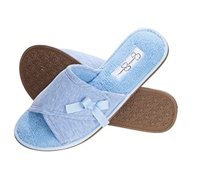 Open Toe Scuff Slide Women's Indoor House Shoe Slipper With Ribbon Bow
