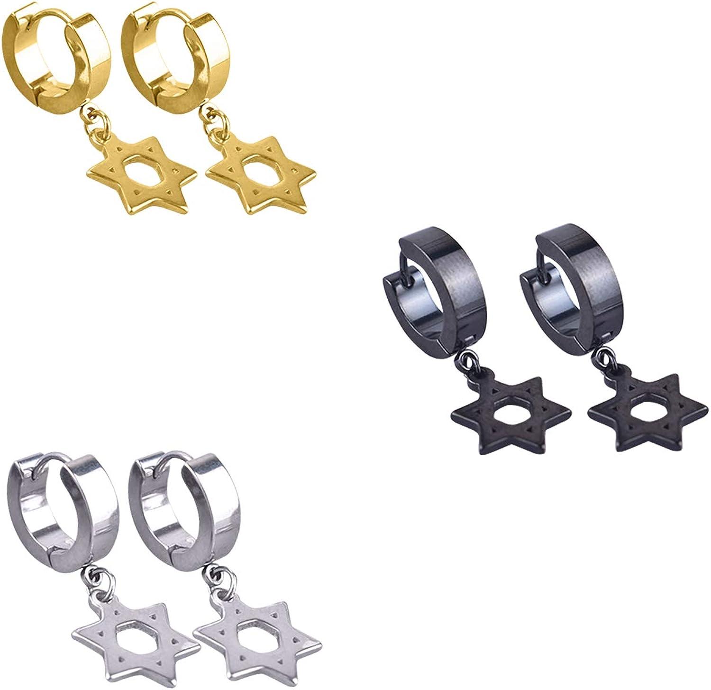 TXPFF Men Women Stainless Steel Cross Dangle Hinged Hoop Huggie Earrings(3 Pairs) (Star earrings)