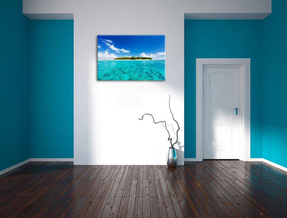 Malediven Traumstrand Blaues Meer Sommer Sonnenschein Format  120x80 cm cm cm auf Leinwand, XXL riesige Bilder fertig gerahmt mit Keilrahmen, Kunstdruck auf Wandbild mit Rahmen, günstiger als Gemälde oder Ölbild, kein Poster oder Plakat 464592