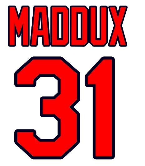 hot sales 11444 63749 Greg Maddux Atlanta Braves Jersey Number Kit, Authentic Home ...